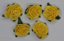 2.5cm LIGHT YELLOW Mulberry Paper Roses (only flower head)